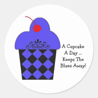 A Cupcake a Day ... blue & black design Stickers