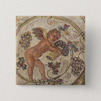 A cupid picking grapes, fragment of pavement 15 cm square badge