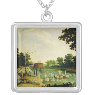 A cure bath in Moscow Square Pendant Necklace