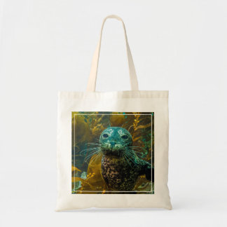 A Curious Harbor Seal Kelp Forest | Santa Barbara Budget Tote Bag