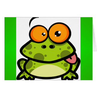 A cute and green spotted frog with orange eyes greeting card