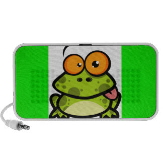 A cute and green spotted frog with orange eyes mini speakers