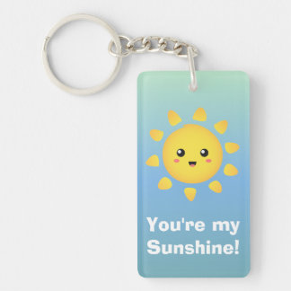 A cute and happy sun that shines brightly around Double-Sided rectangular acrylic key ring