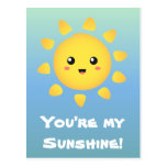 A cute and happy sun that shines brightly around postcards