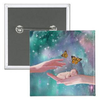 A cute baby boy in hand fantasy 15 cm square badge