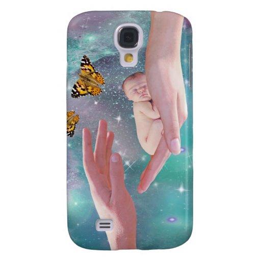 A cute baby boy in hand fantasy galaxy s4 cover