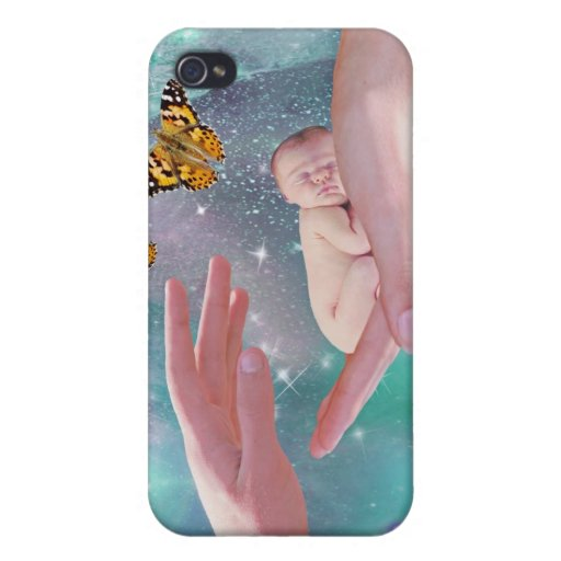 A cute baby boy in hand fantasy cover for iPhone 4