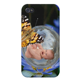A cute baby lily butterfly bubble iPhone 4/4S cases