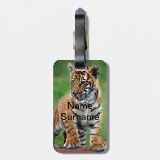 A cute baby tiger luggage tag
