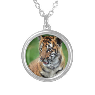 A cute baby tiger silver plated necklace