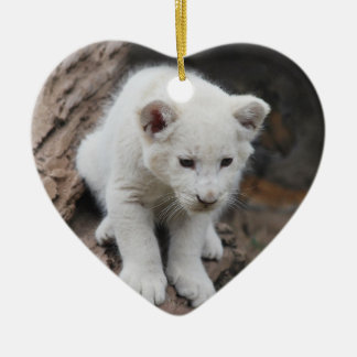A cute baby white lion christmas ornament