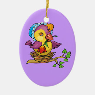 A cute Birdie for Easter Ceramic Oval Decoration