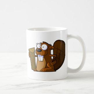 A Cute Cartoon Beaver Character Holding a Log Coffee Mug