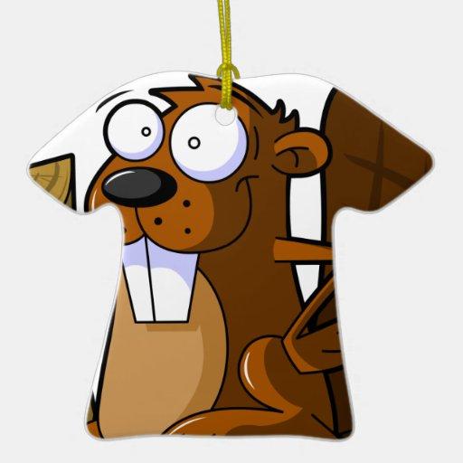 A Cute Cartoon Beaver Character Holding a Log Christmas Tree Ornaments