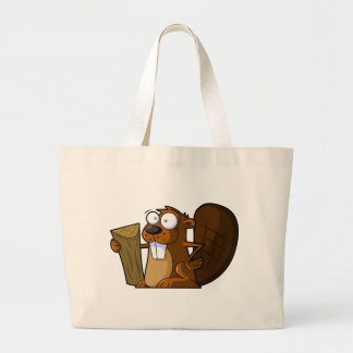 A Cute Cartoon Beaver Character Holding a Log Jumbo Tote Bag