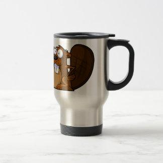 A Cute Cartoon Beaver Character Holding a Log Mugs