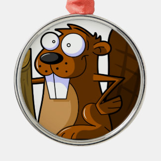 A Cute Cartoon Beaver Character Holding a Log Silver-Colored Round Decoration