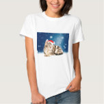 A Cute Cat wearing red Santa hat Christmas Snow Tee Shirt