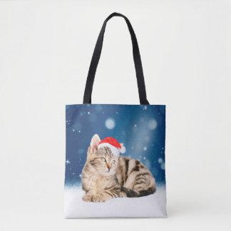 A Cute Cat wearing red Santa hat Christmas Snow Tote Bag