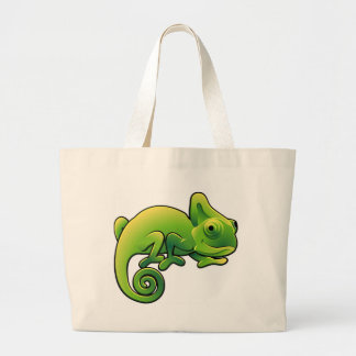 A cute chameleon lizard large tote bag