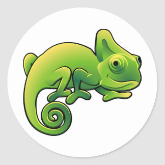 A cute chameleon lizard round sticker
