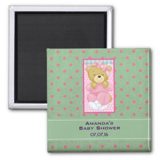 A Cute Cuddly Bear Dressed in Pink Baby Shower Square Magnet