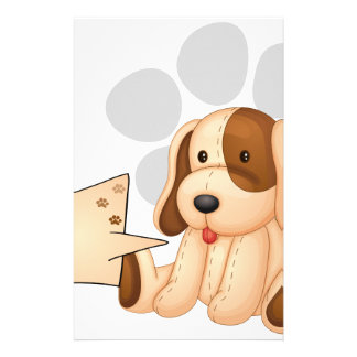 A cute dog with an empty rectangular template stationery
