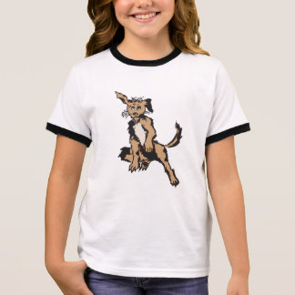 A Cute Dog With Blue Puppy Eyes Ringer T-Shirt