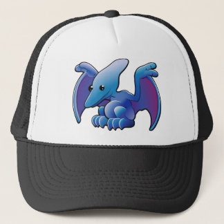 A cute friendly dinosaur pterodactyl or pteranodon trucker hat
