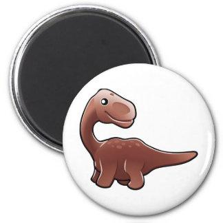A cute friendly diplodocus dinosaur 6 cm round magnet