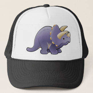 A cute friendly triceratops dinosaur trucker hat