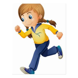 A cute girl jogging postcard