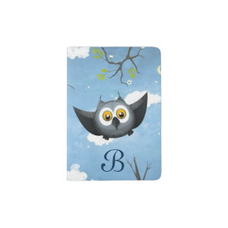 A Cute Gray Owl Passport Holder