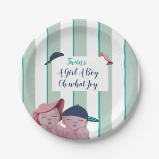 A Cute Green striped  Twin design baby shower Paper Plate