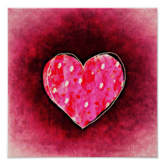 A  Cute Hand Drawn Pink Heart on a Grunge Texture Poster