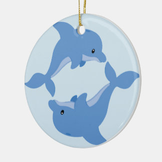 A Cute Happy Dolphin Christmas Ornament