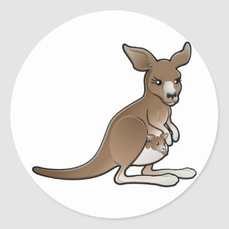 A cute kangaroo with a joey in its pouch round sticker