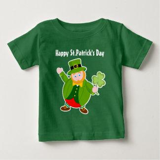 A cute leprechaun holding a lucky Irish shamrock, Baby T-Shirt