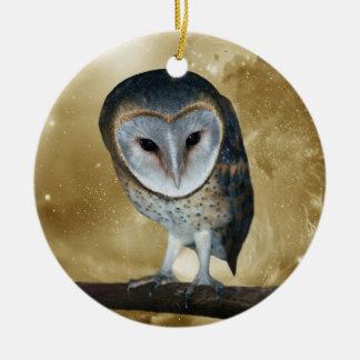 A Cute little Barn Owl Fantasy Christmas Ornament