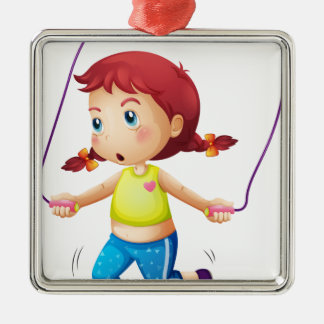 A cute little girl playing skipping rope christmas ornament