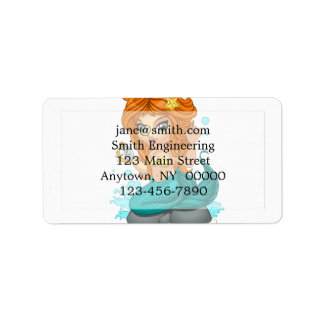 A Cute little mermaid and a compass Address Label