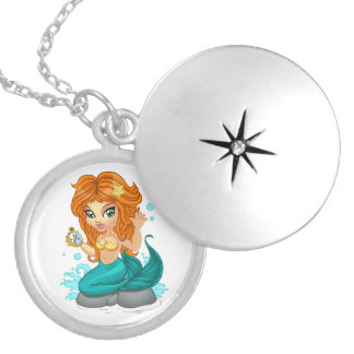 A Cute little mermaid and a compass Locket Necklace