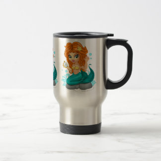 A Cute little mermaid and a compass Stainless Steel Travel Mug