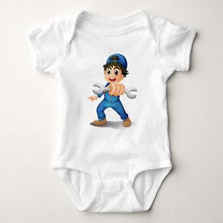 A cute male mechanic baby bodysuit