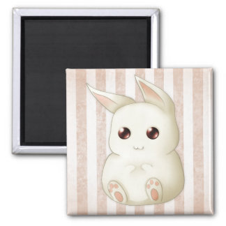 A Cute Puffy Kawai Bunny Rabbit Square Magnet