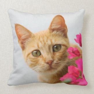 A cute red tabby kitten is watching you. throw pillow