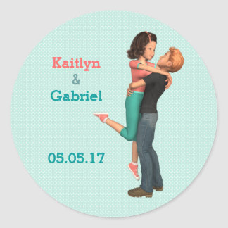 A Cute Romance: Sweethearts Embrace (Personalized) Round Stickers