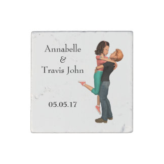 A Cute Romance: Sweethearts Embrace (Personalized) Stone Magnet