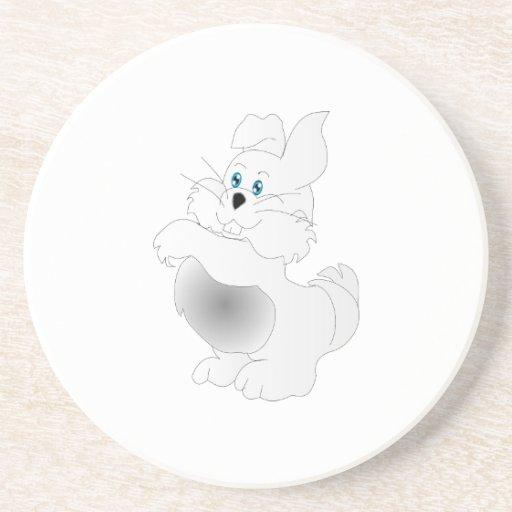 A cute white Easter Bunny cartoon Coasters