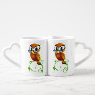 A cute wise owl with glasses cartoon lovers mug